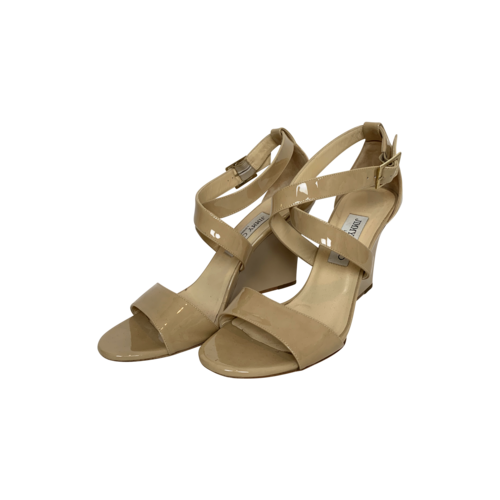"""Jimmy Choo Nude """"Fearne"""" Patent Crisscross Wedge Sandals"""