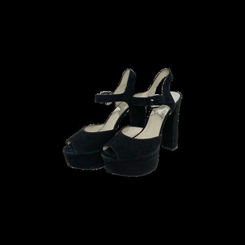 "Michael Kors Black ""London"" Suede Platform Peep-Toe Sandals"