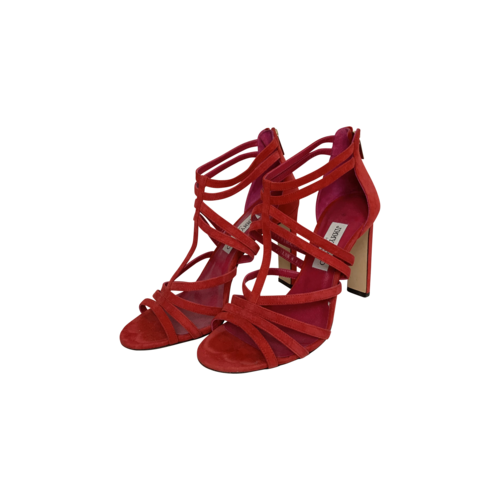 """Jimmy Choo Red """"Selina"""" Suede Strappy Sandals"""