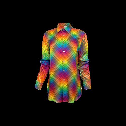 Bruce Glen Rainbow Bias Plaid Silky Top