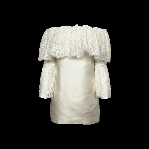 Rachel Zoe White Off-the-Shoulder Lace Bell Sleeve Dress