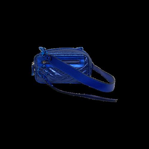 Rebecca Minkoff Metallic Blue Quilted Crossbody Mini Bag