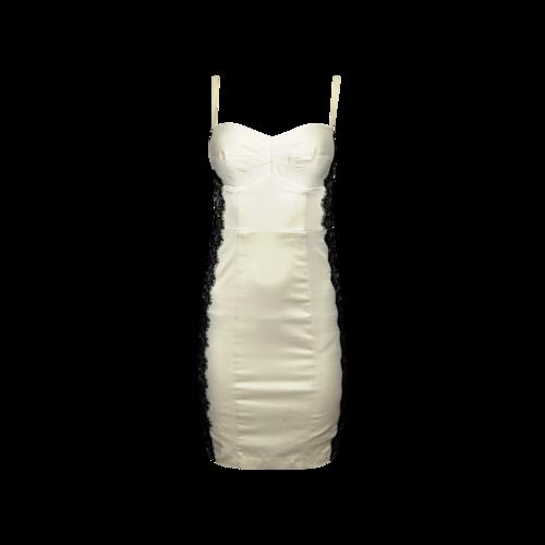 Guess Cream BodyCon Boudoir Dress w/ Black Lace Side Panels