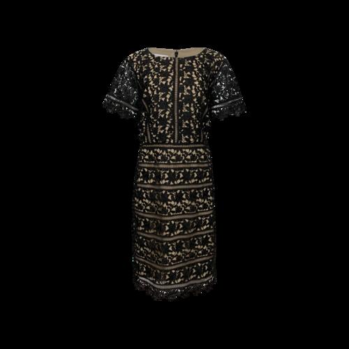Vintage Black RSVP by Talbots Crochet Dress w/ Nude Lining