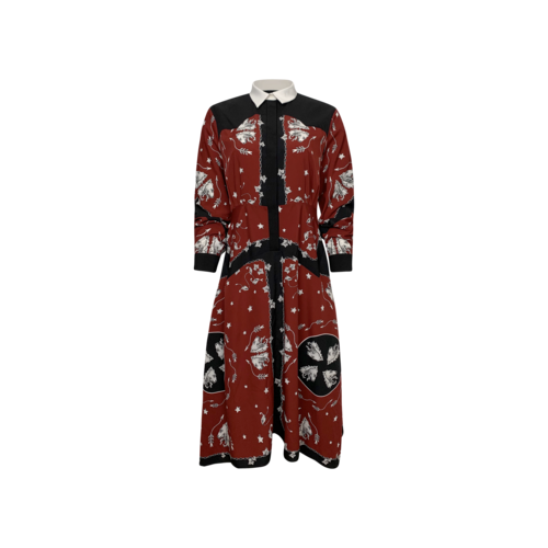 "Sandro Paris Burgundy Red ""Rosa"" Printed Shirt Dress"