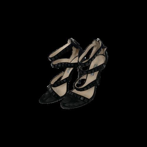 Prada Black Multi-Strap Studded Heels