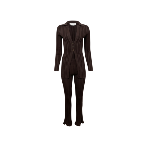 """The Line by K Chocolate Brown  2-Piece """"Nidia"""" Ribbed Cardigan and Pants"""