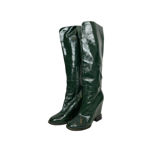 Chloé Green Patent Leather Wedge Heel Boots
