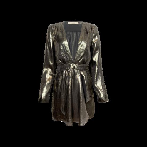 Ramy Brook Platinum Sheen Wrap Dress