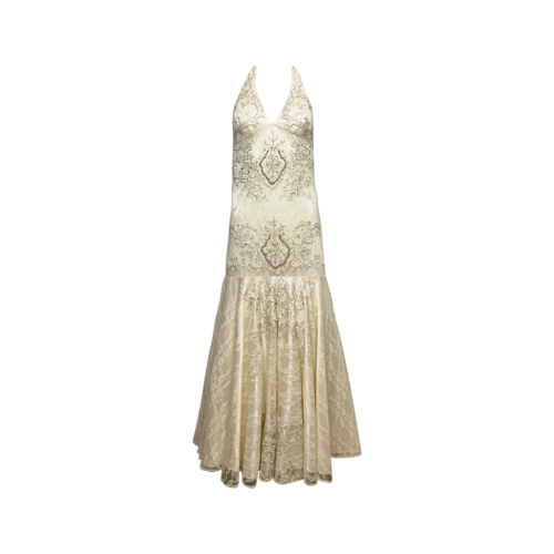 Sue Wong White Halter Neck Beaded Gown