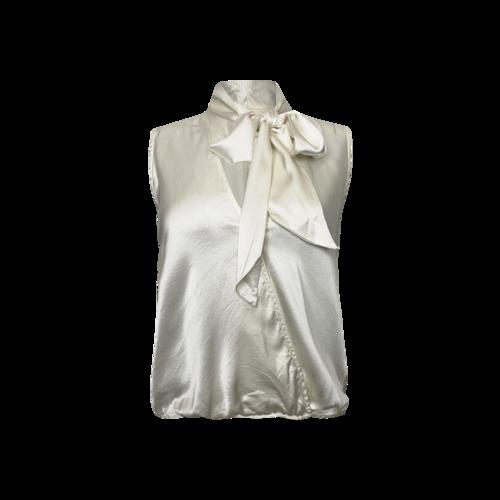 Michelle Mason Cream Silk Tie Neck Blouse