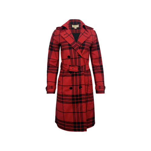 Michael Kors Red Plaid Belted Coat