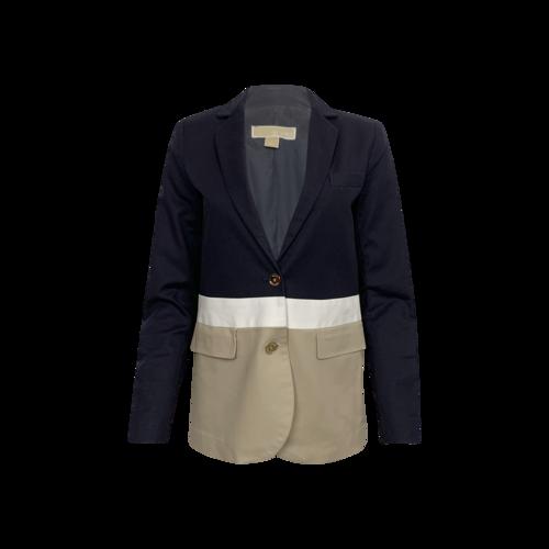 Michael Kors Navy Blue Colorblock Twill Blazer