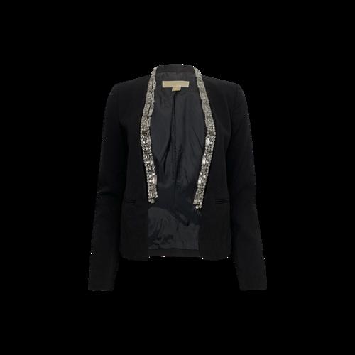 Michael Kors Black Cropped Jacket w/ Embellished Lapel