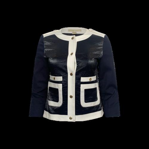 Michael Kors Dark Midnight Blue Front Leatherette Jacket w/ White Trim