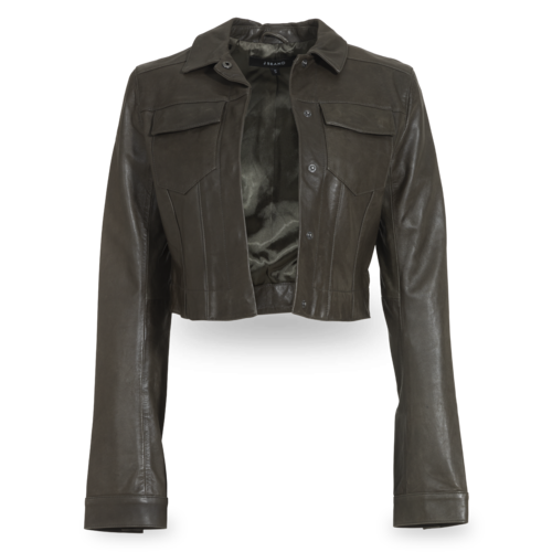 J Brand Cropped Olive Leather Jacket