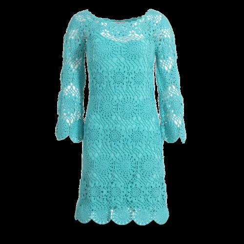 Trina Turk Trina Turk Turquoise Crochet Dress