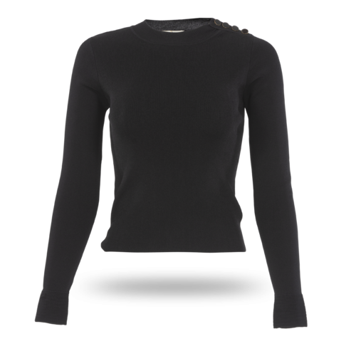 Sandro Paris Sandro Black Long-Sleeve Nigh Neck Top