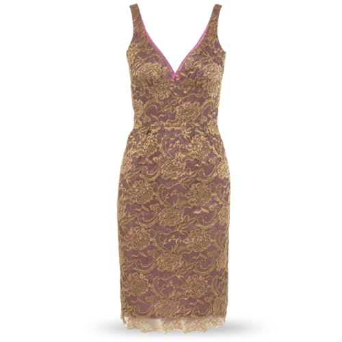 Trina Turk Gold and Pink Sequin Dress