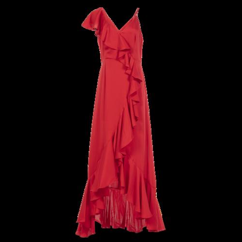 Jill Stuart Red Satin Ruffle Gown