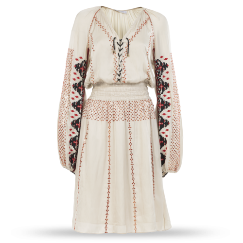 Altuzarra Long-Sleeve Dress with Colored Embroidery