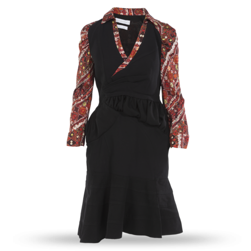 Altuzarra Long-Sleeve Dress with Pleating and Ruching