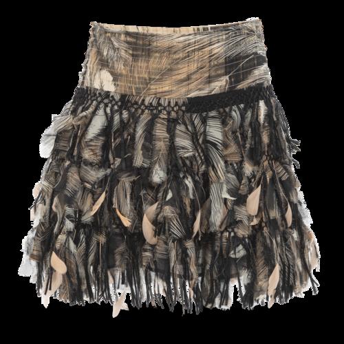 Diane von Furstenberg Silk Mini Skirt with Feathers