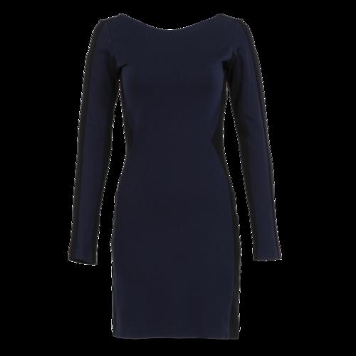 Amanda Uprichard Long-Sleeve Navy and Black Knee-Length Dress
