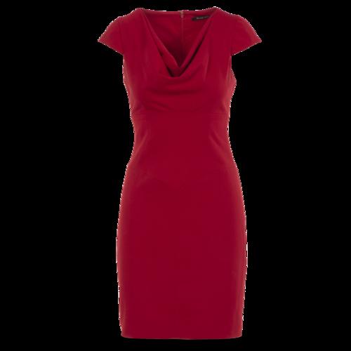 Black Halo Red Cowlneck Sheath Dress