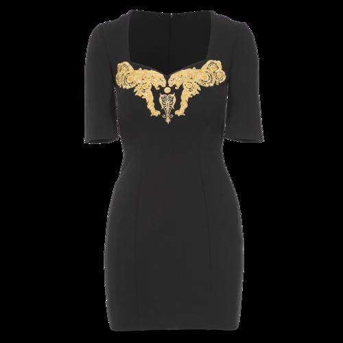 Versace Collection Black Half-Sleeve Dress
