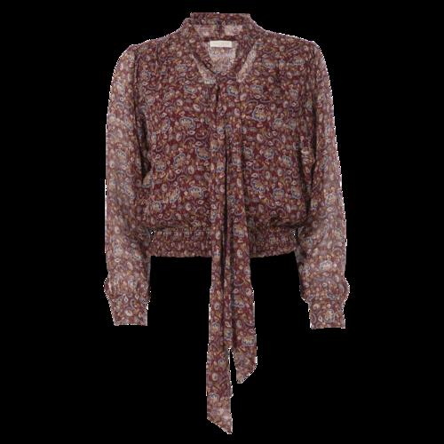 Ramy Brook Burgundy Floral Neck-Tie Top