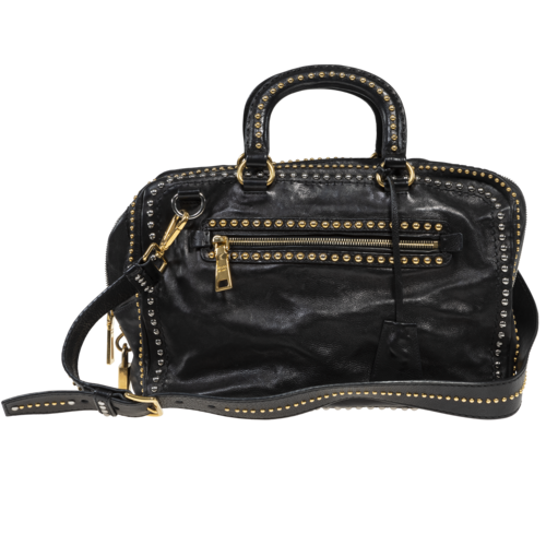 Prada Leather Bag with Gold Studs
