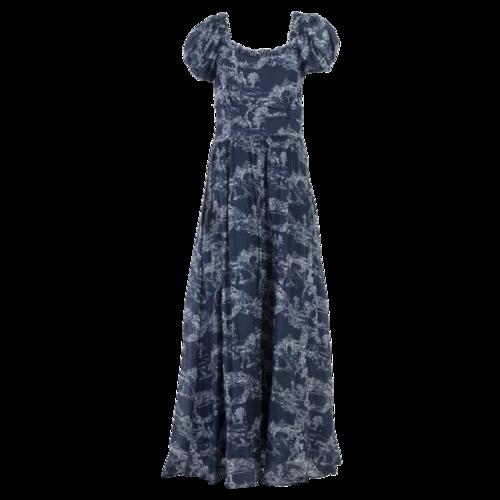Love Shack Fancy LoveShackFancy Blue Puff-Sleeve Maxi Dress